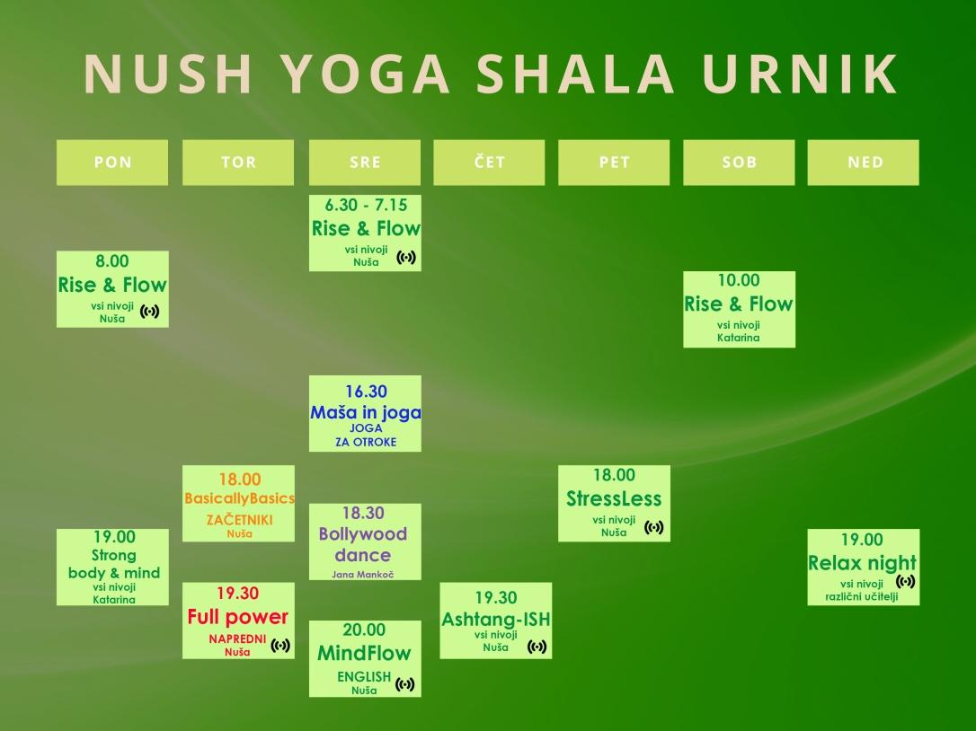Nush Yoga Shala urnik final